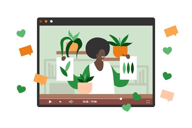 Blogger revue concept illustration avec femme