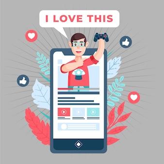 Blogger revue concept illustration avec homme