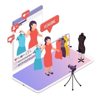 Blogger en streaming pour l'illustration isométrique de la mode en ligne