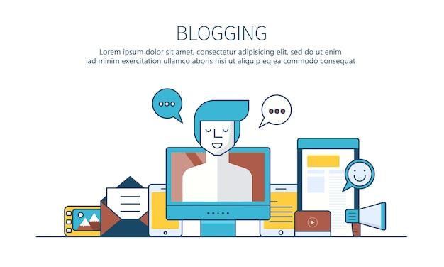 Blogging concept bannière de site web