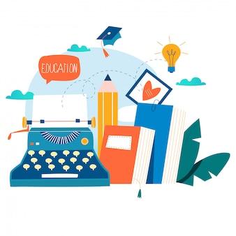 Blogging, éducation, concept d'écriture créative