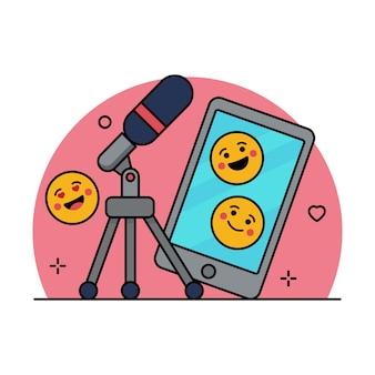Blogging illustration vectorielle mignon, icône de la ligne