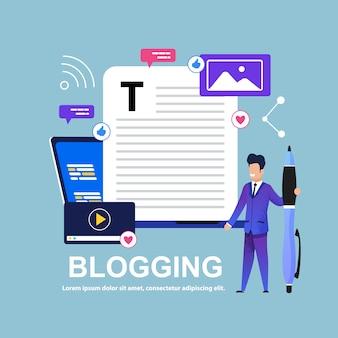 Blogging man avec big pen. histoire intéressante.