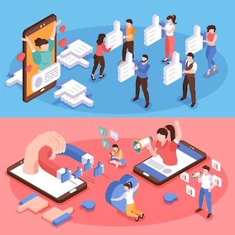 Blogging et médias sociaux battage bannières horizontales mis 3d isolé