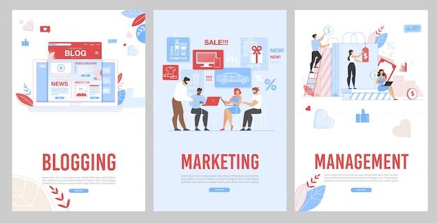 Blogging mobile, marketing et page de gestion