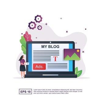 Bloguer avec une personne tenant un ordinateur portable.