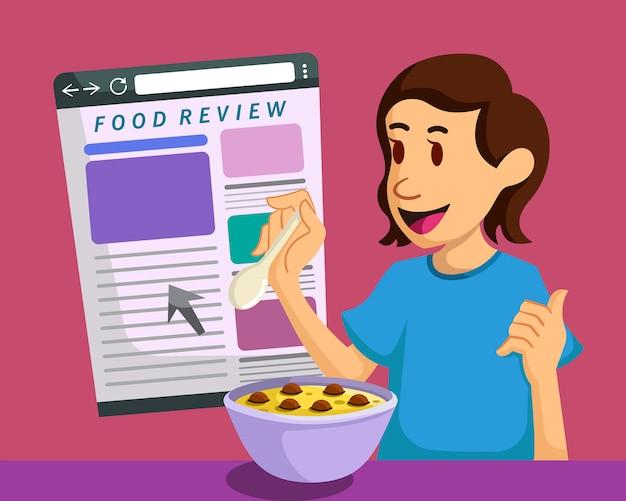 Un blogueur alimentaire rédige un avis sur un site web