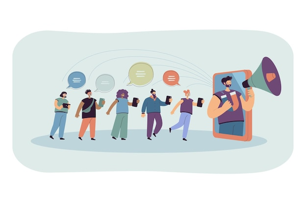 Blogueur avec haut-parleur influençant le public dans les médias sociaux. illustration plate.