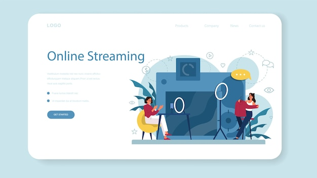 Blogueur vidéo, bannière web de blog ou page de destination. partagez du contenu sur internet. idée de médias sociaux et de réseau. communication en ligne. ensemble d'isolés