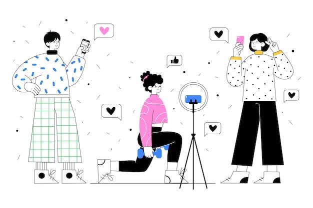 Blogueurs au design plat dessinés à la main