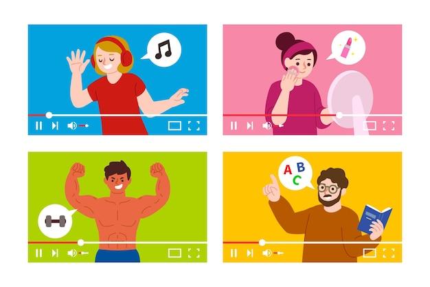 Blogueurs design plat sur écran