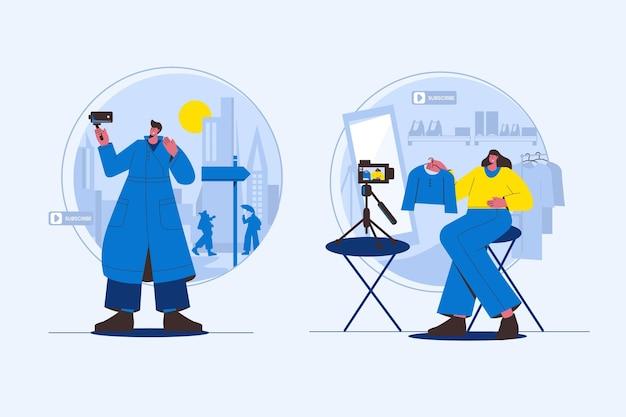 Blogueurs de design plat travaillant