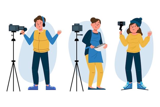 Blogueurs dessinés à la main avec des appareils