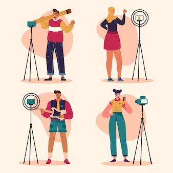 Blogueurs plats dessinés à la main