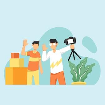 Les blogueurs tenant un stabilisateur avec caméra en direct diffusent des médias sociaux