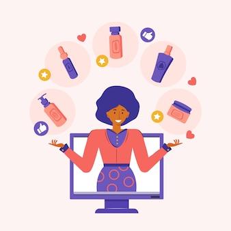 La blogueuse beauté annonce des cosmétiques naturels à base de plantes sur internet. diffusion d'un blog vidéo en ligne. une femme parle de cosmétiques et de soins de la peau en utilisant les réseaux sociaux. retour d'information. illustration plate.