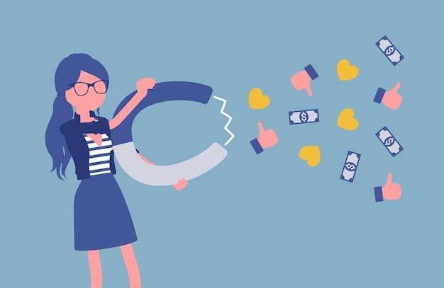 Blogueuse populaire attirant le public comme aimant. la fille écrit du matériel pour le blog, le marketing, les textes sur les réseaux sociaux, une attraction puissante, gagne de l'argent, réussit. illustration vectorielle, personnage sans visage