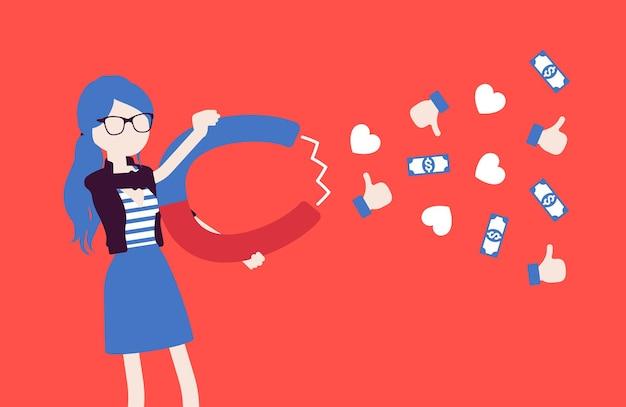 Une blogueuse populaire attirant le public comme aimant