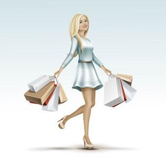 Blonde femme fille en robe avec des sacs à provisions