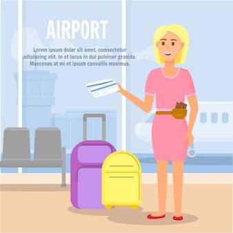 Blonde woman character summer time voyage de vacances