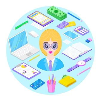 Blondy femme d'affaires et bureau stationnaire sur fond bleu. illustration vectorielle.