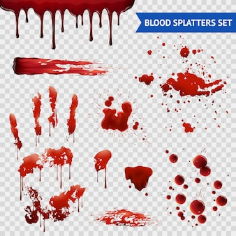 Blood spaters realistic samples set transparent