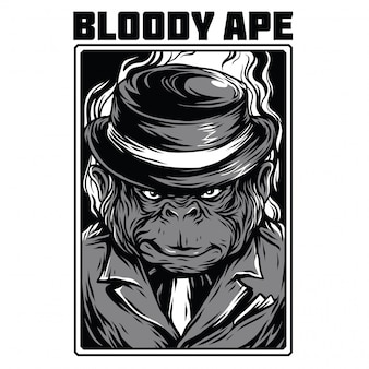 Bloody ape illustration en noir et blanc