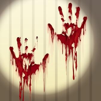 Bloody empreintes de mains sur un mur