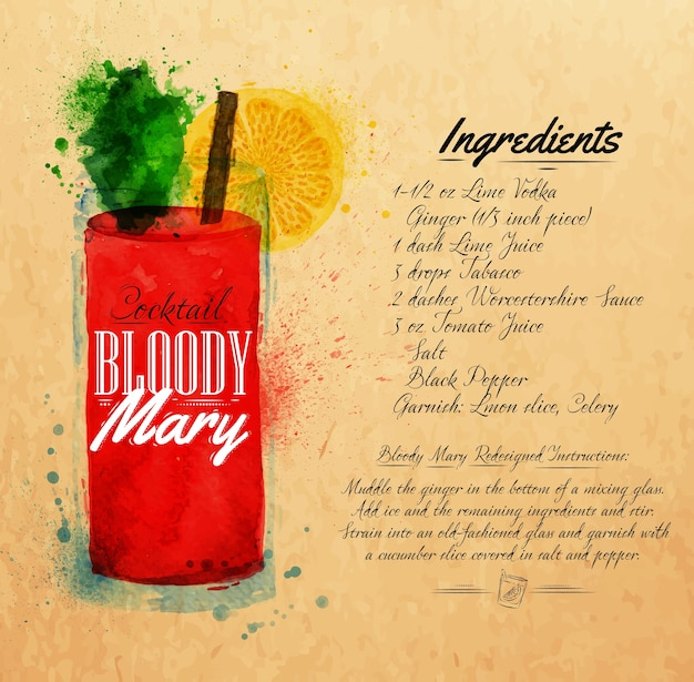 Bloody mary cocktails aquarelle kraft