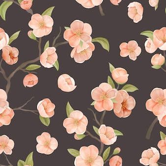 Blooming sakura decor pour l'art du tissu. modèle sans couture de fleur de cerisier avec des fleurs et des feuilles sur fond de couleur marron. décoration de papier peint ou de papier d'emballage, ornement textile. illustration vectorielle