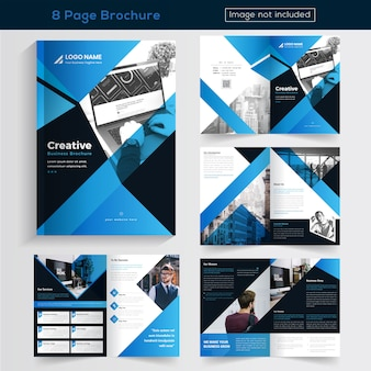 Blue 8 pages brochure design for business