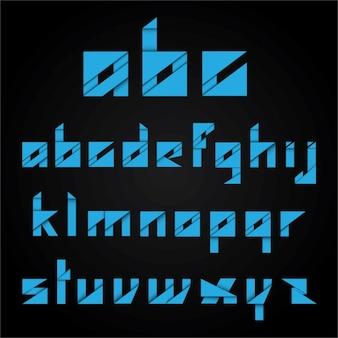 Blue abstract alphabet de forme