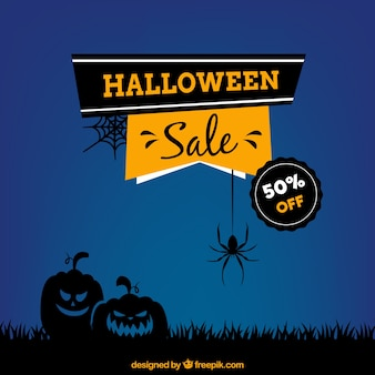 Blue background of sales halloween