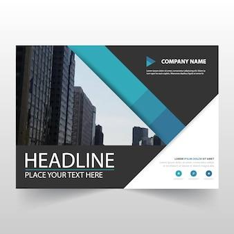 Blue business trifold leaflet brochure modèle flyer
