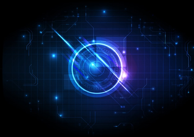 Blue center technologie numérique futuriste