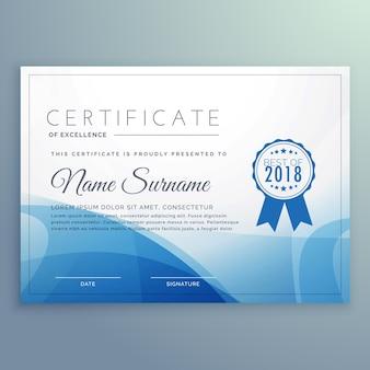 Blue certificate template design vector