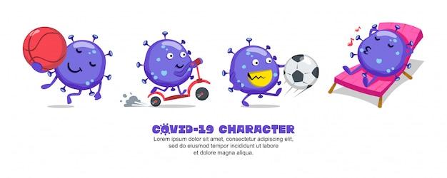 Blue covid-19. conception d'inspiration de dessin animé de coronavirus. basket-ball, scooter, football et relax