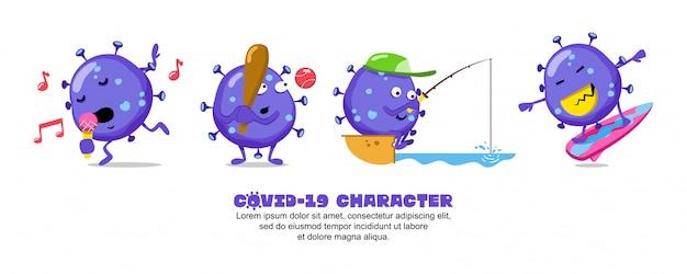 Blue covid-19. conception d'inspiration de dessin animé de coronavirus. chanter, baseball, pêche et surf