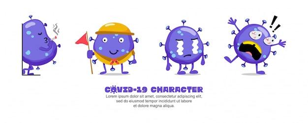 Blue covid-19. conception d'inspiration de dessin animé de coronavirus. fumer, éclairer, pleurer et choqué