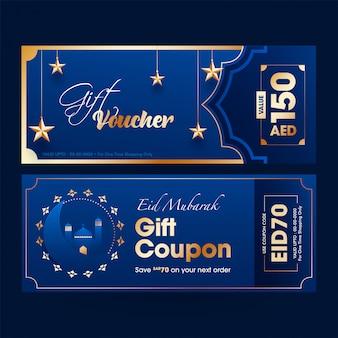 Blue eid mubarak conception de modèle de coupon ou bon d'achat