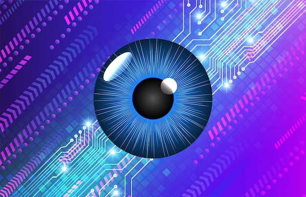 Blue eye cyber circuit future technologie background
