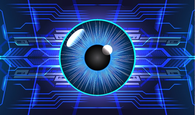 Blue eye cyber circuit future technologie concept background