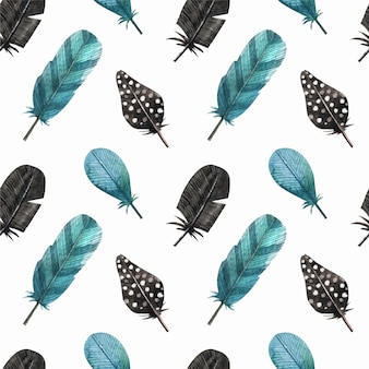 Blue feathers pattern background