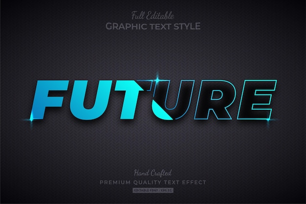 Blue future gradient divide style de police d'effet de texte modifiable