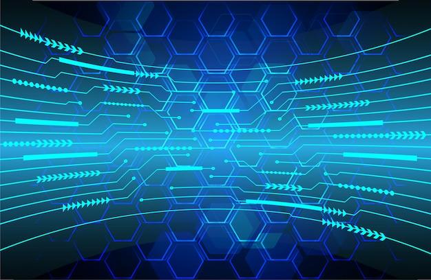 Blue hexagon cyber circuit future technologie concept background