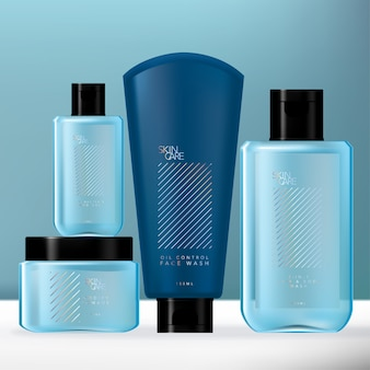 Blue & holographic men toiletries packaging set with hand sanitizer bottle, body wash bottle, pomade jar & lotion tube.