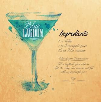 Blue lagoon cocktails aquarelle kraft