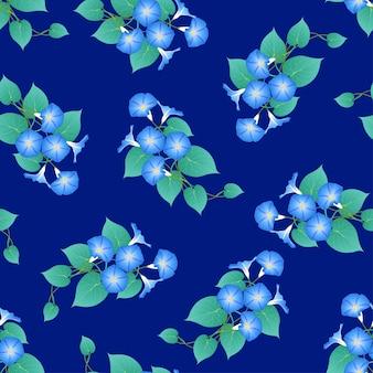 Blue morning glory sur fond bleu marine