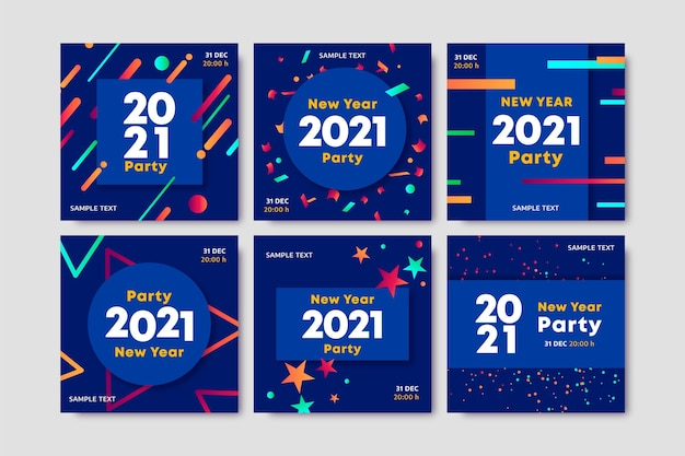 Blue new year 2021 instagram posts