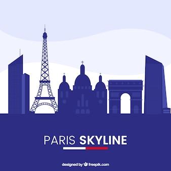 Blue paris skyline